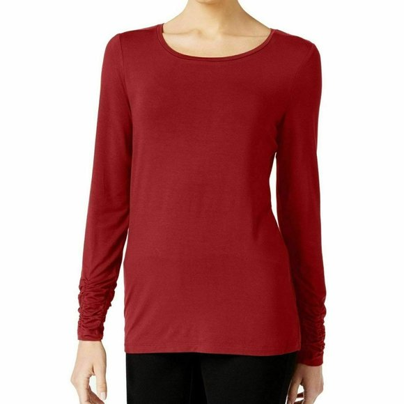 Alfani Sweaters - Alfani Womens Red Ruched Long Sleeves Crew Neck